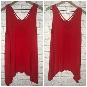 ❤️Apt 9 Red Criss Cross Asymmetric Tank Size XL